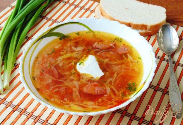 фото рецепта: Щи  со свежей капустой и копченой колбасой