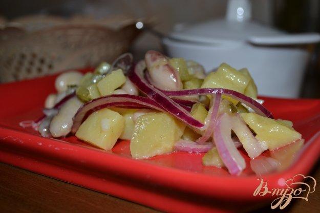 фото рецепта: Витаминный салат из белой фасоли и красного лука
