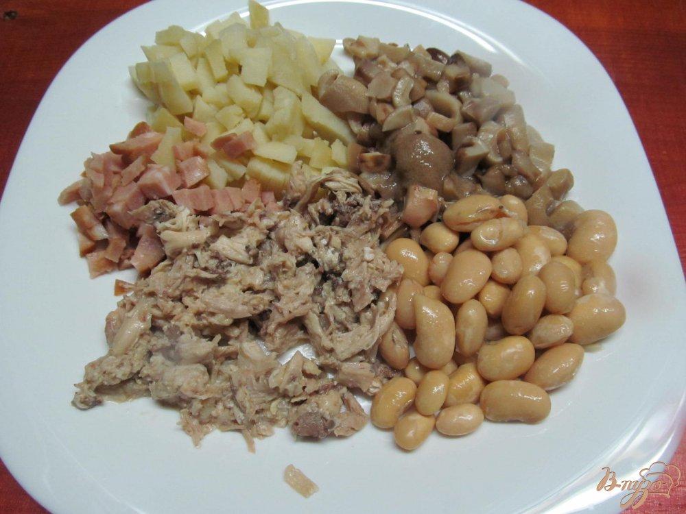 Салат рецепт с фасолью курицей и грибами рецепт с фото