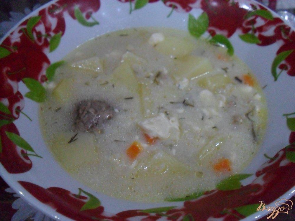 Фото приготовление рецепта: Сырный суп с фрикадельками в мультиварке шаг №7
