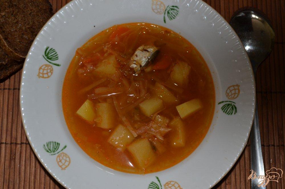 Фото приготовление рецепта: Постный борщ с килькой в томате в мультиварке шаг №9