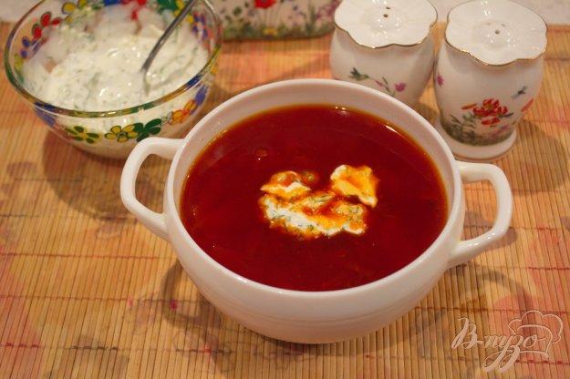 фото рецепта: Вкусный борщ со сметанной заправкой