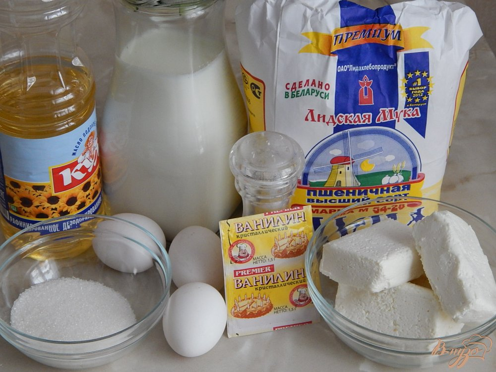 Фото приготовление рецепта: Блинчики с творогом шаг №1