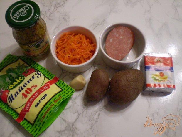 Рецепт Салат с копченной колбасой и морковью по-корейски