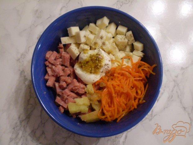 Салат с копченной колбасой и морковью по-корейски