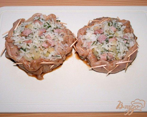 """Куриные """"тарелочки"""" с рисом и ветчиной"""