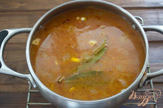 Томатный суп с мясом и макаронами