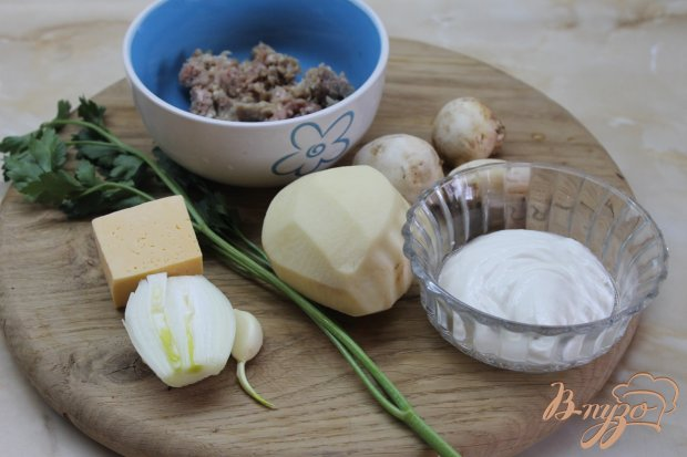 Рецепт Картофель с фрикадельками запеченные под сыром
