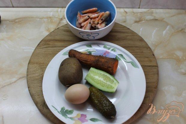 Рецепт Оливье с коктейльными креветками
