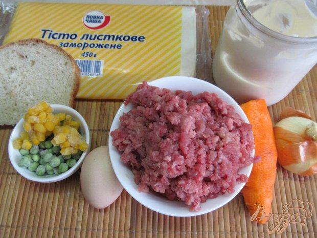 Рецепт Пирог с мясной начинкой в слоеном тесте
