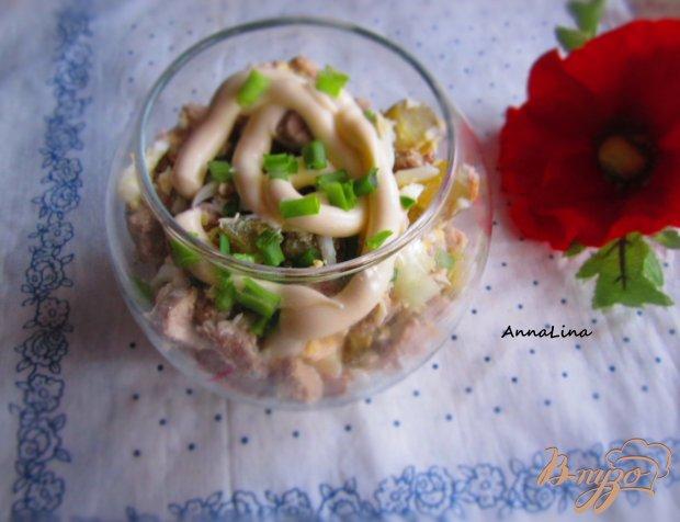 Салат со свинины и плавленым сыром