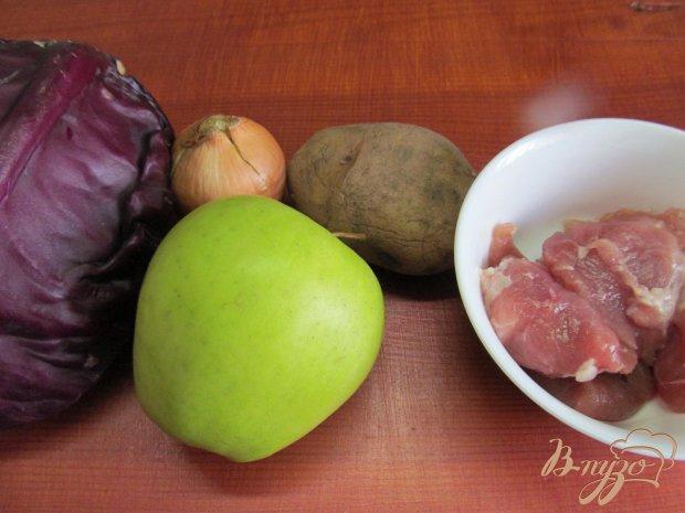 Рецепт Свинина с яблоком и красной капустой