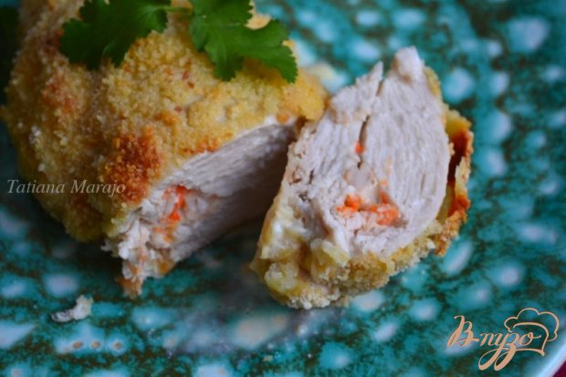 Куриные грудки с сыром и креветками