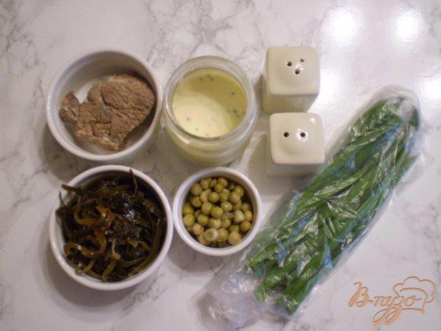 Мясной салат с ламинарией