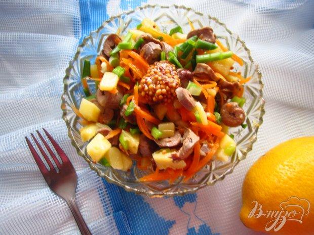 Салат с корейской морковью и куриным сердцем