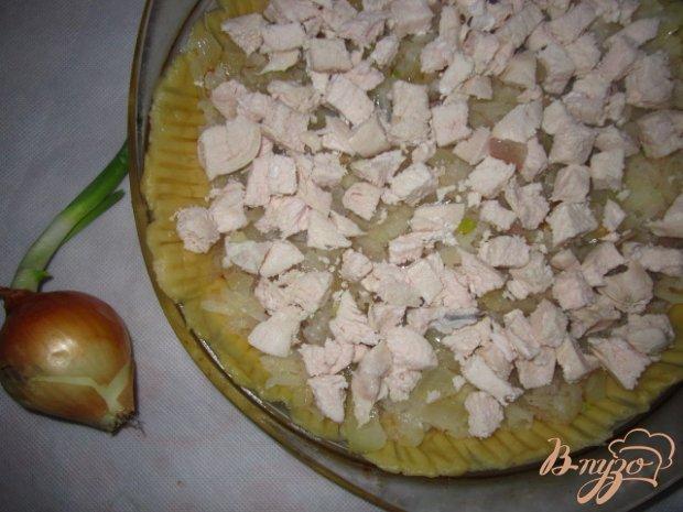 Пирог с яблоками и курицей