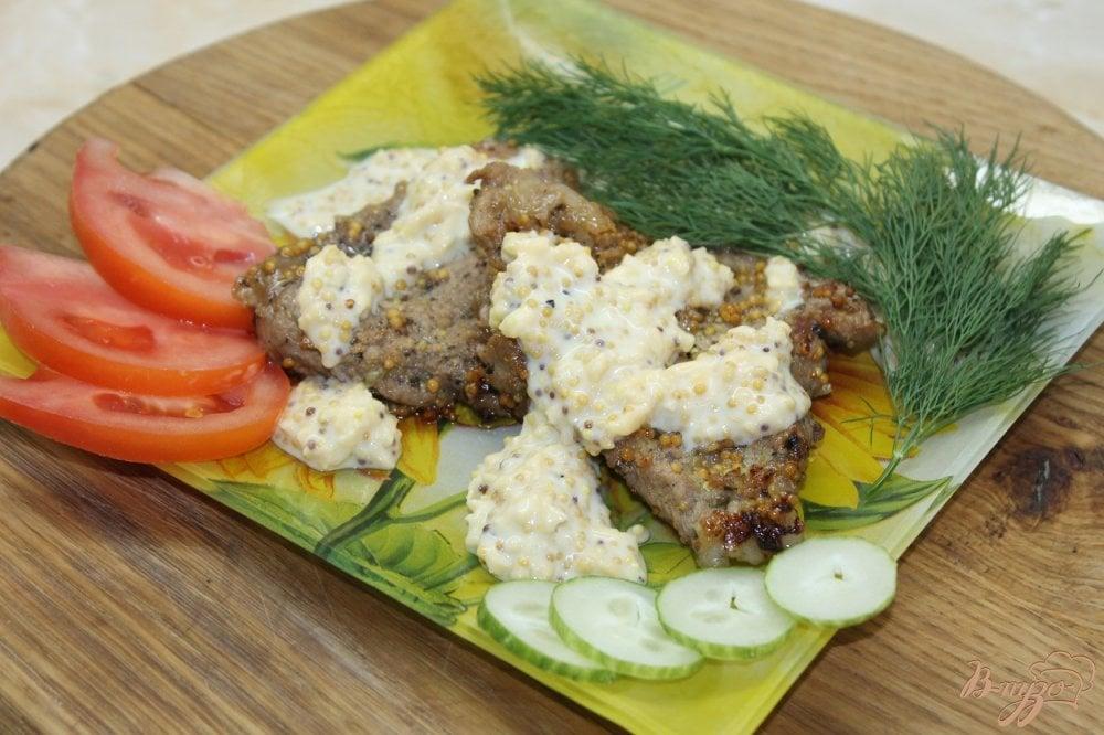 Фото приготовление рецепта: Свинина в французской горчице с сливочным соусом шаг №8