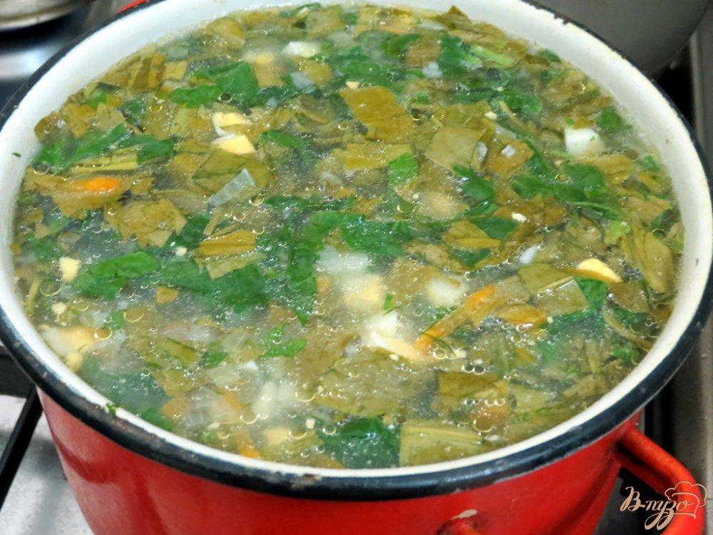 Фото приготовление рецепта: Суп со щавелем и шпинатом (постный) шаг №10