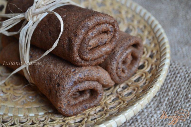 Фото приготовление рецепта: Шоколадно-банановые блины с овсом шаг №7