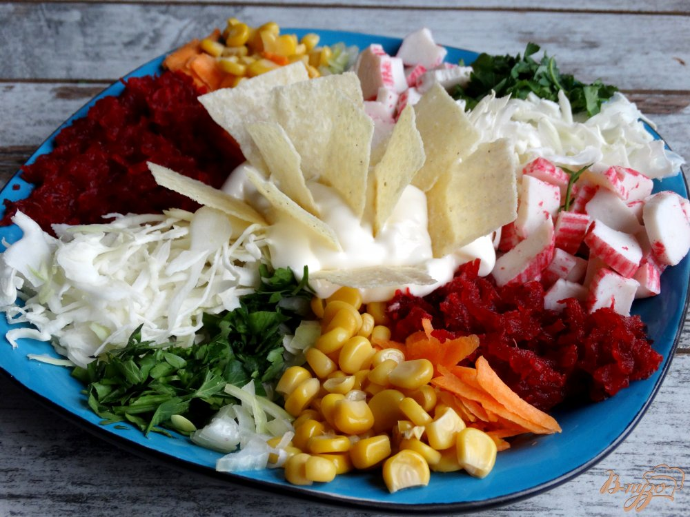 Фото приготовление рецепта: Салат Козел в огороде шаг №9