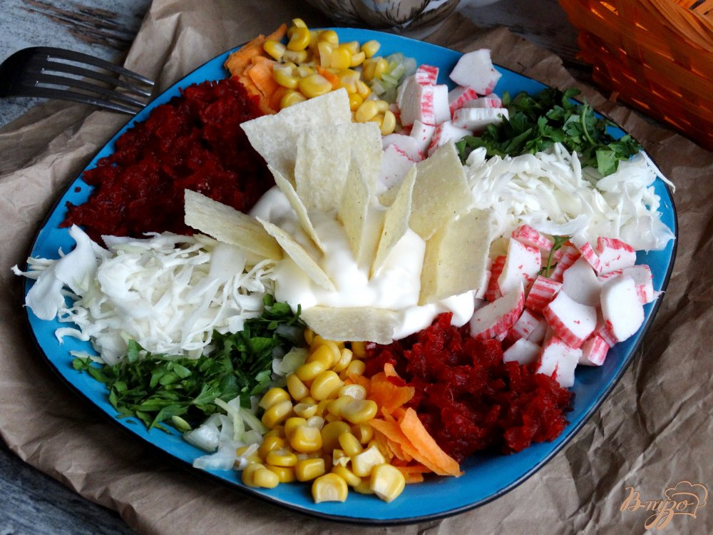 Фото приготовление рецепта: Салат Козел в огороде шаг №10