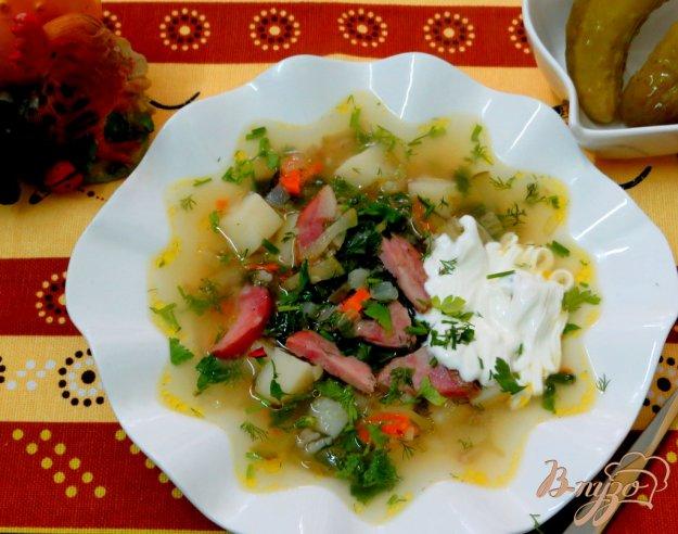 фото рецепта: Рассольник с копчёной колбасой и оливками