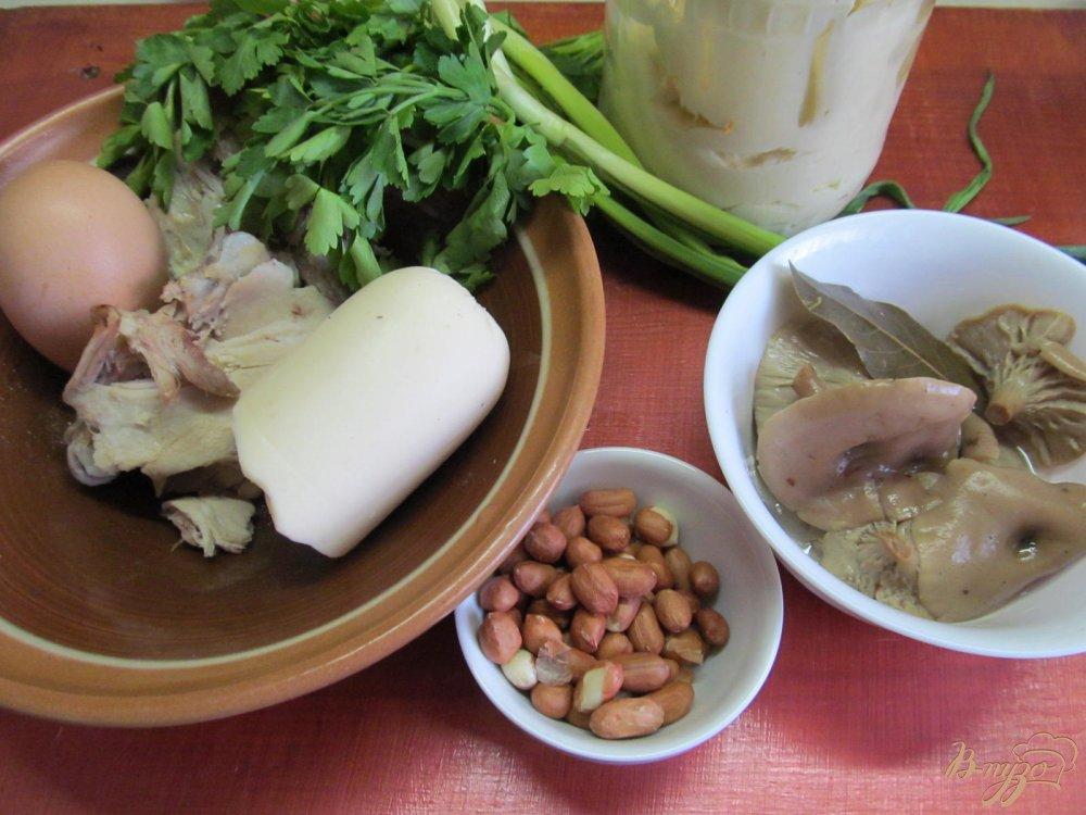 Фото приготовление рецепта: Салат из курицы грибов и арахиса шаг №1