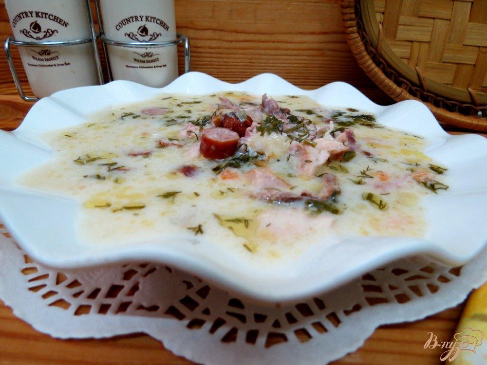 Фото приготовление рецепта: Суп сливочный с копчёностями шаг №9
