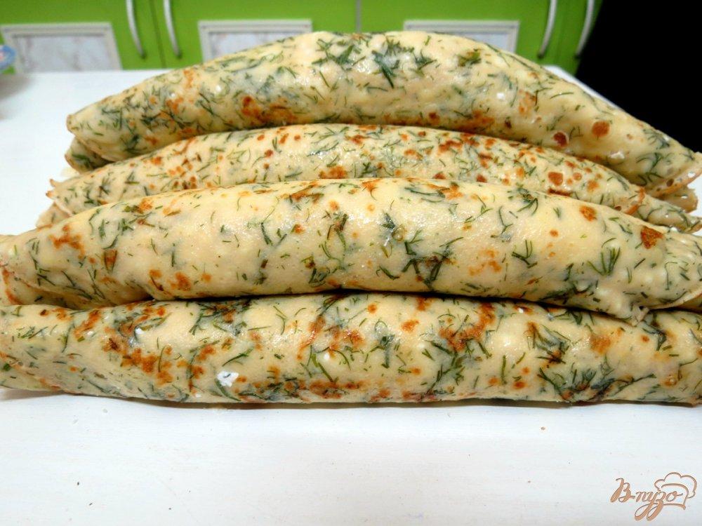 Фото приготовление рецепта: Творожно - блинные закусочные шашлычки шаг №8