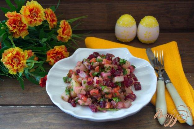 фото рецепта: Винегрет с огурцом ( без капусты)