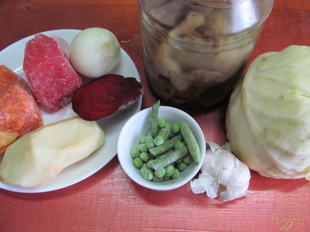 Фото приготовление рецепта: Борщ с маринованными грибами горошком и фасолью шаг №1