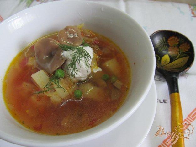 фото рецепта: Борщ с маринованными грибами горошком и фасолью