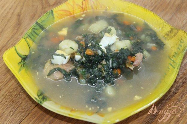 фото рецепта: Суп с щавелем и крапивой на курином бульоне