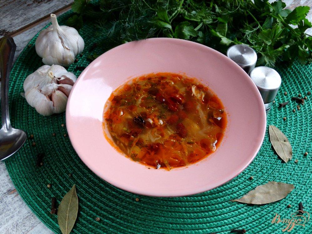 Фото приготовление рецепта: Щи с курицей и красной фасолью шаг №9