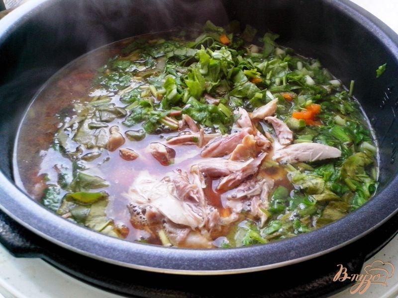 Фото приготовление рецепта: Борщ зелёный с черемшой и шпинатом в мультиварке-скороварке шаг №6