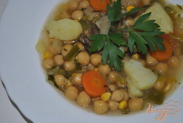 фото рецепта: Суп с кукурузой и горохом нут