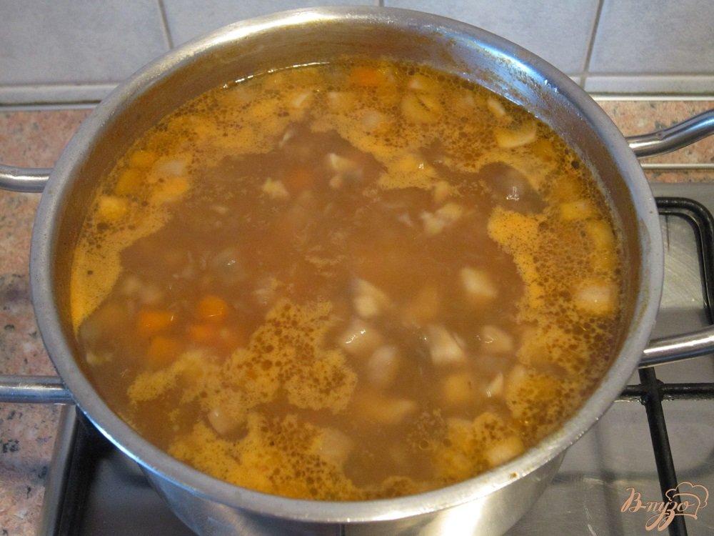 Фото приготовление рецепта: Суп с помидорами и грибами шаг №10