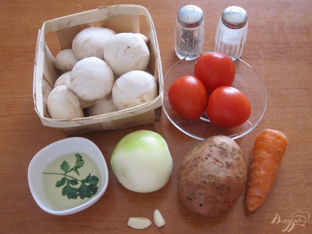Фото приготовление рецепта: Суп с помидорами и грибами шаг №1
