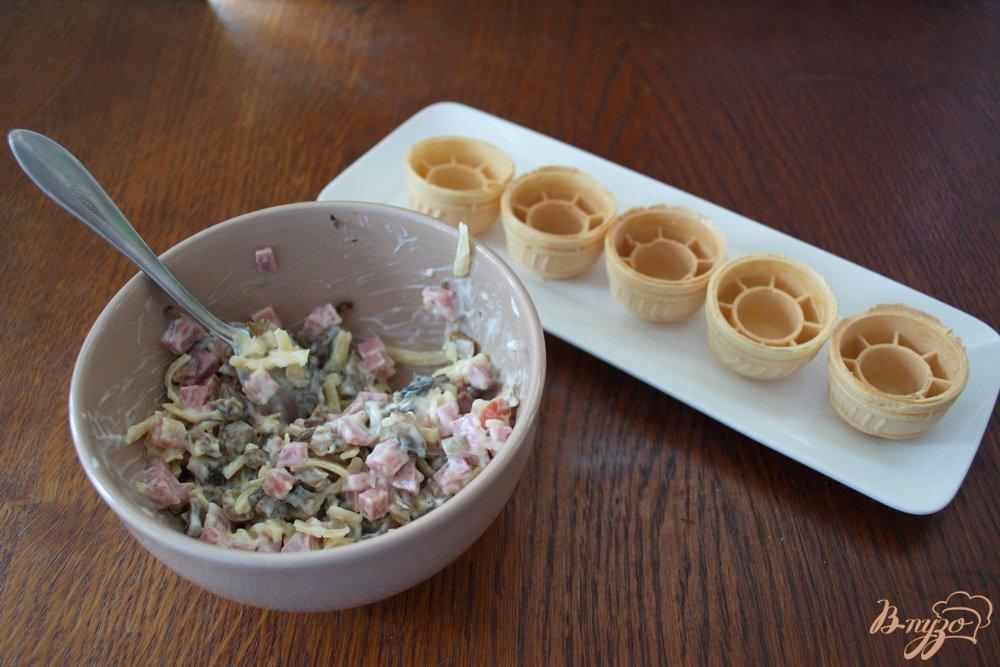 Закуски к праздничному столу с фото в вафельных корзиночках