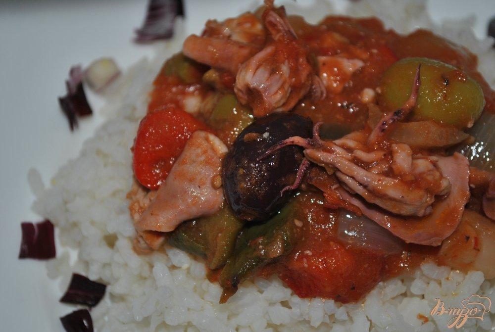 Фото приготовление рецепта: Томатная сальса с кальмарами шаг №14