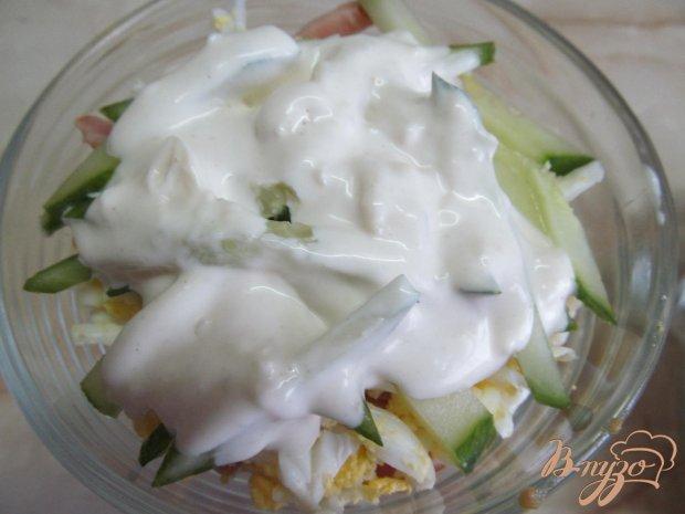 Капустный салат с ветчиной и огурцом