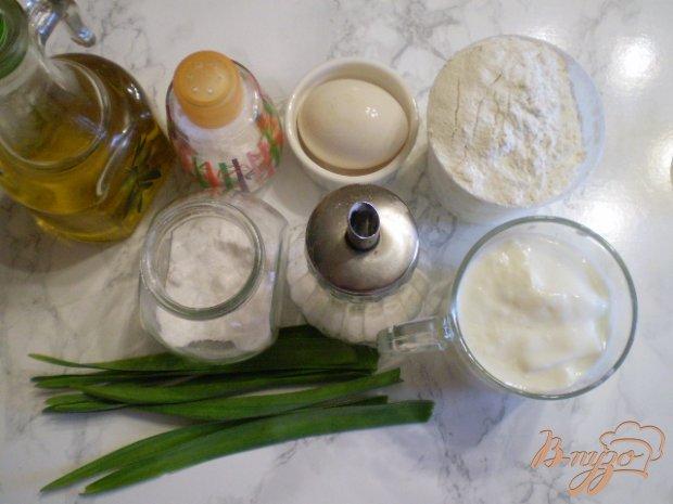 Рецепт Лепешка на кефире с листьями чеснока