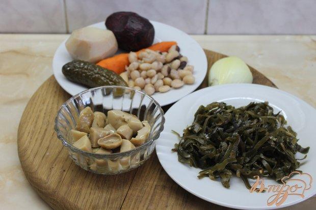 Рецепт Винегрет с белыми маринованными грибами и морской капустой
