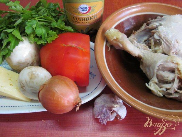 Рецепт Салат из курицы грибов и помидор