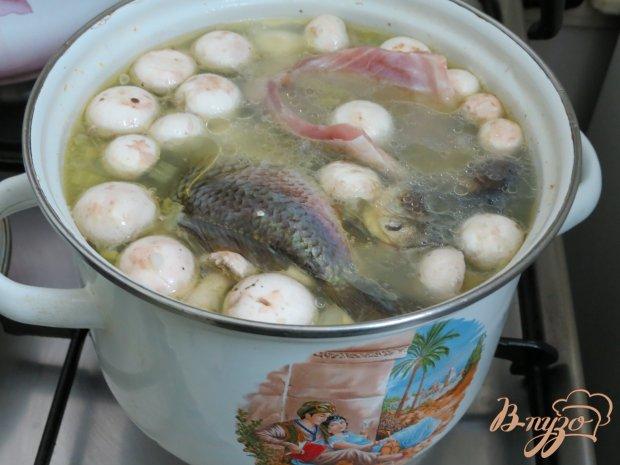 Суп с карасями, грибами и рисом.