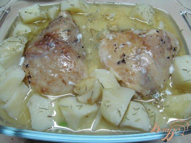 Куриные бедра с картофелем в молоке