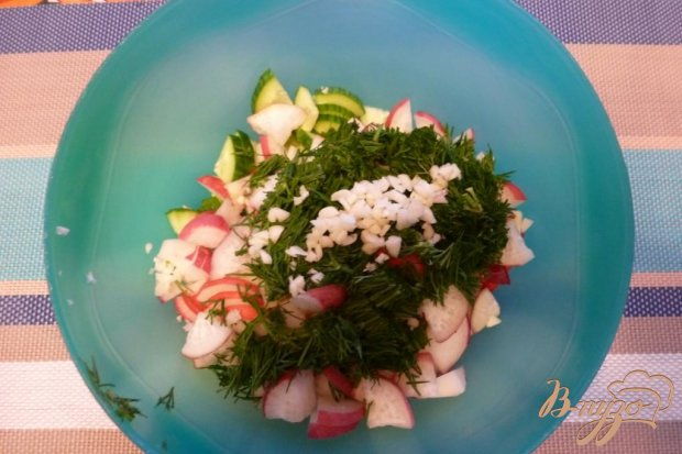 Салат Весенний с редисом и чесноком
