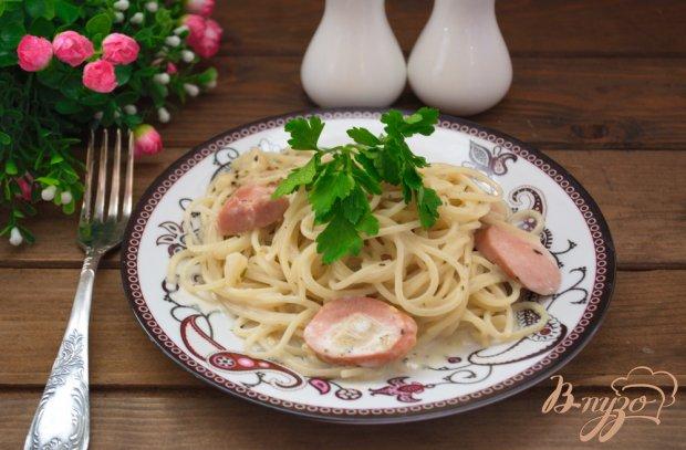 Быстрые спагетти с сосисками в сливочном соусе