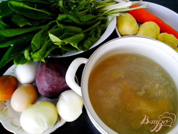 Рецепт Борщ зелёный с черемшой и шпинатом в мультиварке-скороварке