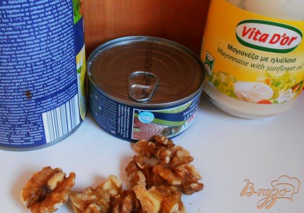 Рецепт Закуска из консервированных персиков и тунца